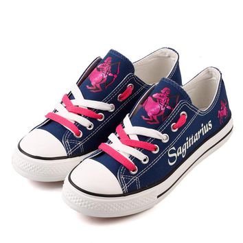 New Fashion Sagittarius Star Sign Printed Canvas Shoes Customized Fantasy Starry Night Luminous Walking Shoes For Women