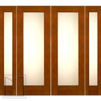 "Prehung 2-1/4"" Thick Mahogany Double Doors Sidelites Low-E Matte Glass"