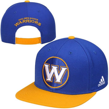 Golden State Warriors adidas Secondary Two-Tone Oversized Snapback Adjustable Hat - Royal Blue/Gold