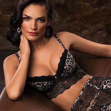Animal Print Longline Push-Up Bra Lauma Wild Passion