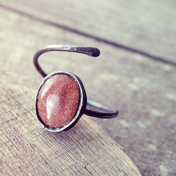 goldstone ring, oxidized silver ring, dainty ring, stone ring, sterling silver ring, crystal ring, open ring, adjustable stone ring, organic
