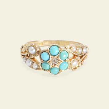 Victorian Turquoise and Diamond Daisy Ring with Forget Me Not Shoulders