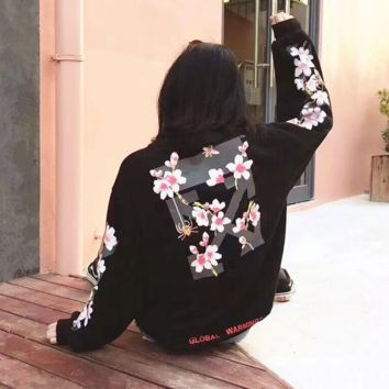 off-white:Fashion Print Floral Hooded Sport Top Sweater Sweatshirt Hoodie