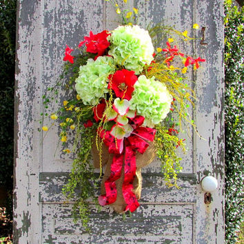 Rustic Spring wreath, swags and wreaths, Spring Summer wreaths, Floral door swag, door swag spring, rustic country decor, front porch decor