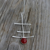 Carnelian Sterling Silver Necklace. Red. Orange. Long Pendant. silver sticks. Mothers day. abstract. Big Pendant. Spring