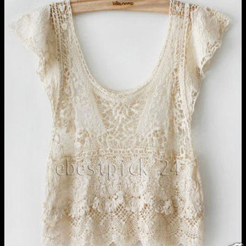 ♥ FREE GIFT + Vintage HIPPIE 60 70's boho IVORY sheer CROCHET lace dress TOP ♥