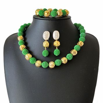 Promotion Green Simulated Pearl Women Party Costume Jewelry African Beads  Jewelry Set Nigerian Bridal Wedding Jewelry Set
