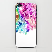 Rainbow Watercolor Paisley Floral iPhone & iPod Skin by micklyn