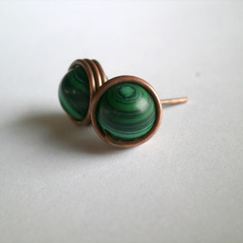 Malachite Earrings. Malachite Stud Earrings. Wire Wrapped Stud Earrings. Malachite and Copper Jewelry. Jewelry Under 20. Gemstone Earrings