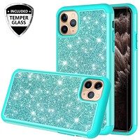 Apple iPhone 11 Pro Max Case, Glitter Bling Heavy Duty Shock Proof Hybrid Case with [HD Screen Protector] Dual Layer Protective Phone Case Cover for Apple iPhone 11 Pro Max - Teal