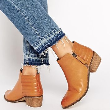 Dune Petrie Tan Leather Ridge Flat Ankle Boots