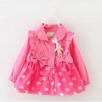 2017 Children's Clothing Girl Spring Autunm Character Jackets Baby Girls Long Sleeve Rabbit Princess Coats Bow Easter Clothes