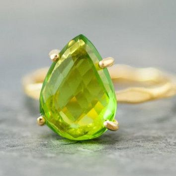 Green Peridot Ring - August Birthstone Ring - Solitaire Ring