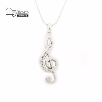 Silver Plated Treble Clef Necklace Music symbol G Clef Necklace Snake chain Music Note Pendant Necklaces for Girls
