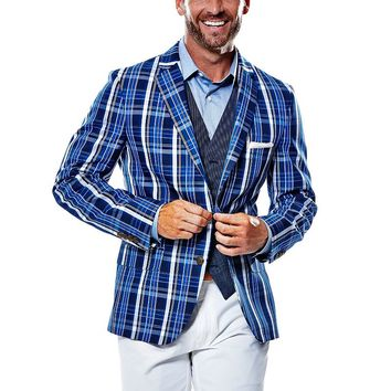 Haggar 1926 Originals Slim-Fit Navy Madras Plaid Sport Coat - Men, Size:
