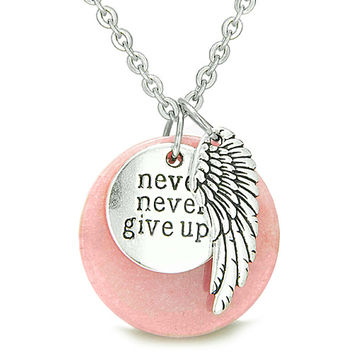 "Angel Wing and Inspirational ""Never Never Give Up"" Amulet Candy Pink Quartz Pendant 22 Inch Necklace"
