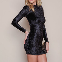 BLACK VELVET CRUSH MINI DRESS
