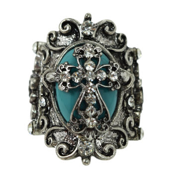 Gothic Vintage Victorian Chunky Turquoise Alchemy Mystic Ring