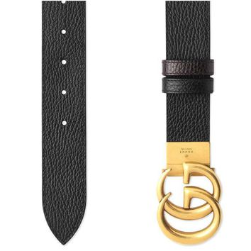 NEW GUCCI BLACK BROWN LEATHER DOUBLE G BUCKLE LOGO BELT 110/44