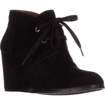 Lucky Brand Seleste Lace Up Wedge Booties, Black, 8.5 US / 38.5 EU
