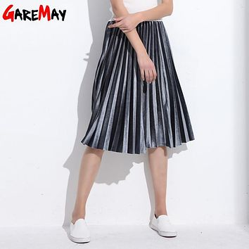 Women Skirt Pleated Faldas Largas  Jupe Femme Long Warm High Waist Skirts For Women Elegant Female Green Velvet Skirts Retro