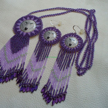 Rosette beaded Purple and Lavender Wolf Necklace and Earring Set