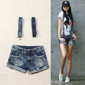 2013 Summer Fashion Womens Overalls Braces Pants Denim Jeans Shorts Hot Pants # L0341056 = 1930361476