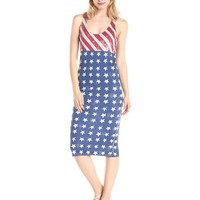 Alternative Women's USA Flag Print Modal Racerback Midi Dress