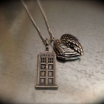 UK Police Phone Booth Solid Sterling Silver and Sterling Winged Locket Heart Necklace