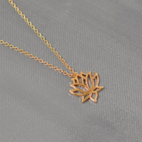 Lotus Flower Symbol Pendant / Gold Lotus Necklace / Gold Flower Jewelry