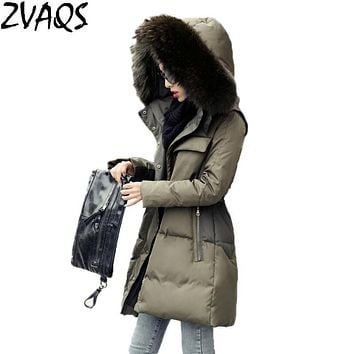 Winter Jacket Women Medium Long Army Green Coat Large Real Raccoon Fur Collar Hooded Military 2017 Female Down Parka Slim YM487