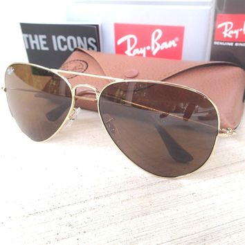 NEW GENUINE 80% Off Ray Ban Aviators Gold Frame Brown Lens Sunglasses RB3025