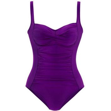 2018 New One Piece Swimsuit Womens Vintage Criss Cross Ruched Tummy Control Swimwear for Women Monokini Swimsuit