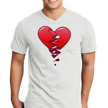 Crumbling Broken Heart Adult V-Neck T-shirt by