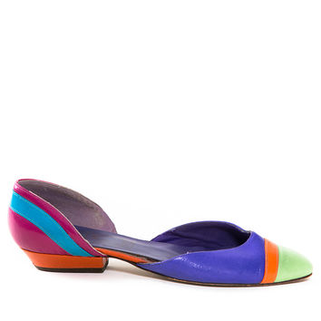 Vintage Color Block Point Flat Shoes