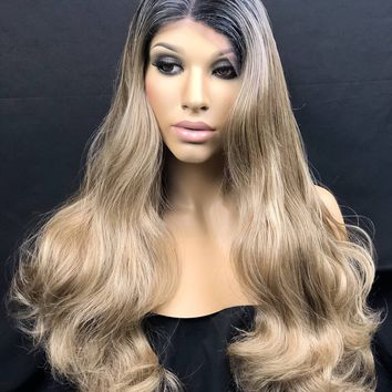 Human Hair Blend Wig, Sandy Blonde Brown Wig, Ash Blonde Wig, Dark Rooted Ombre 4x4 Silk Base, Multi Directional Parting, Heat Safe Hair