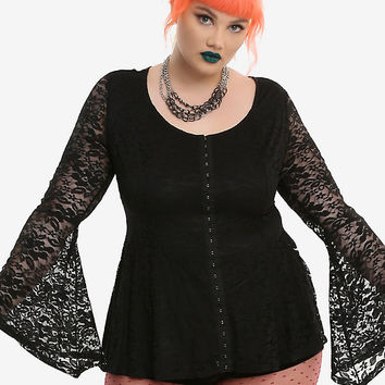 Black Lace Bell Sleeve Girls Peplum Top Plus Size