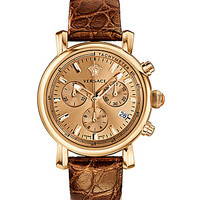 Versace Day Glam Analog Swiss Quartz Leather Strap Watch