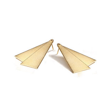 Triangles earrings, gold earrings, stud earrings