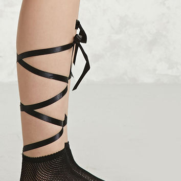 Wrap Tie Fishnet Ankle Socks