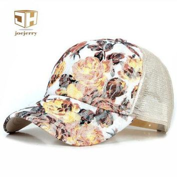 CREYCI7 joejerry New Girls Lace Baseball Cap Floral Summer Caps Polyester Mesh Sun Hats For Women Fitted