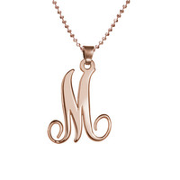 18K Rose Gold Plated Fancy Cursive Initial Necklace