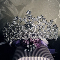 18K White Gold Plated Vintage Rhinestone Bridal Tiara Wedding Hair Accessories Crystal Pageant Crowns Wedding Tiaras and Crowns