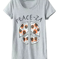 Gray PEACE-ZA Printed Short Sleeve T-shirt