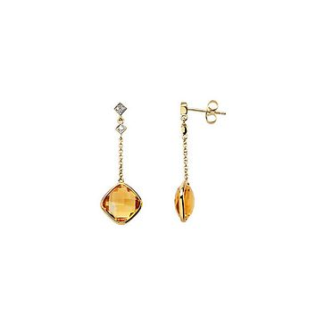 Cushion Citrine & Diamond Dangle Earrings in 14k Yellow Gold
