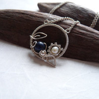 Wire Wrapped Pendant, Gemstone Pendant, Lapis Lazuli Pearl Pendant, Handmade Wire Wrapped Jewelry