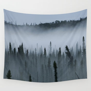 Forest Fog Above Tree Tops Wall Tapestry by BravuraMedia