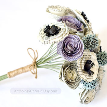 Bridesmaid or Small Bridal Bouquet made from Books with Roses, Poppies, Sweetgum - IN YOUR COLORS - Book Page Wedding Flowers