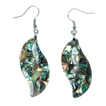 SHIPS FROM USA Abalone shell leaf drop dangle earrings fashion jewelry mothers day birthday gifts for women mom her wife H002