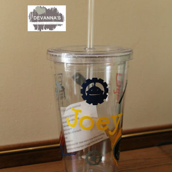 16oz Personalized Tumbler with Lid and Straw - Name and tools